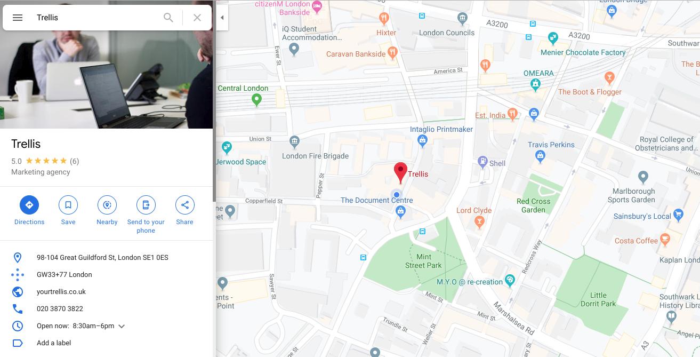 Trellis Google Maps Listing